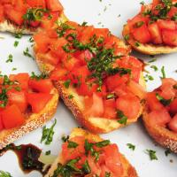 Our delicious bruschetta will have you definitely wanting seconds of this appetizer. Made with fresh tomatoes and topped with basil.